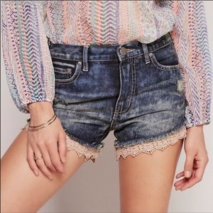 Free People Lace Hem High Waisted Shorts